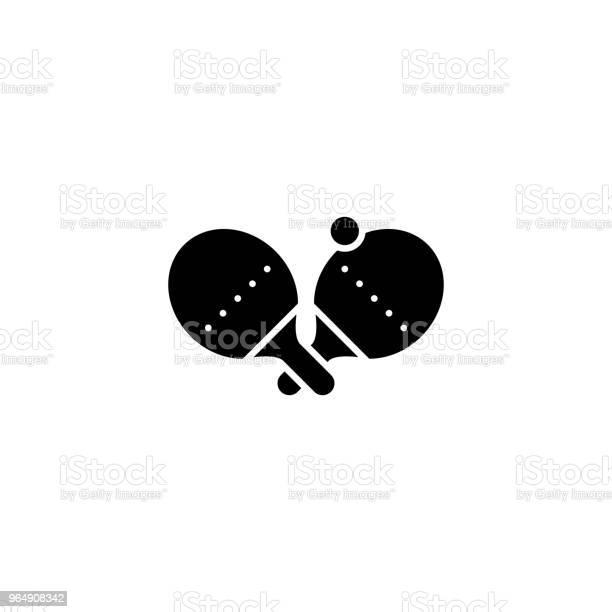 乒乓球黑圖示概念乒乓球平面向量符號 符號 插圖向量圖形及更多一個人圖片
