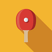 Table Tennis Flat Design Sports Icon with Side Shadow
