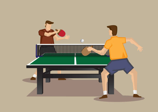 Table Tennis Game In Action Vector Cartoon Illustration Series Two players playing table tennis with ping pong ball and table tennis racquets. Vector illustration of  table tennis game viewed from one end of table tennis table isolated on plain background. ping pong table stock illustrations