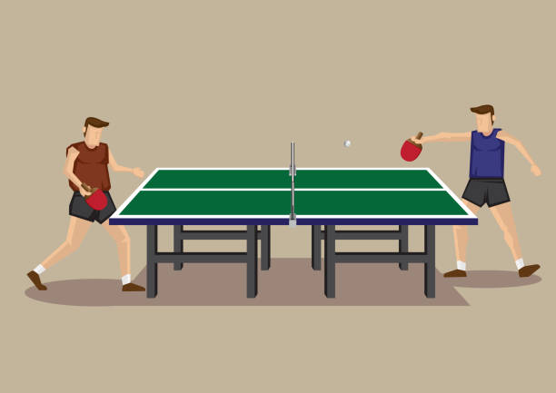 Table Tennis Game Vector Cartoon Illustration Vector illustration of two players playing table tennis game at green table tennis table in side view isolated on neutral background. ping pong table stock illustrations