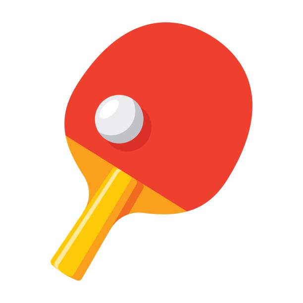 Table Tennis Icon Racket and ball for playing table tennis, vector illustration in flat style table tennis racket stock illustrations