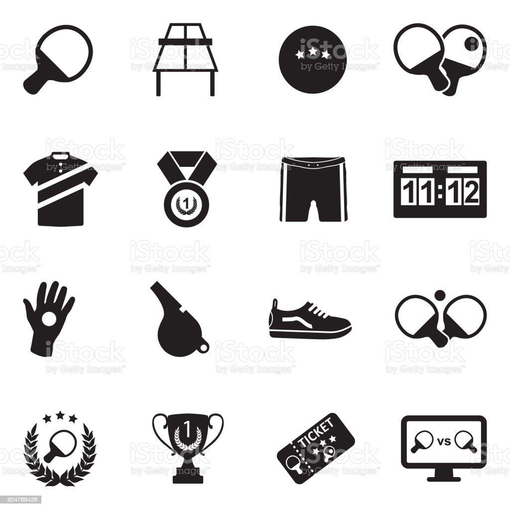 Table Tennis Icons. Black Flat Design. Vector Illustration. vector art illustration
