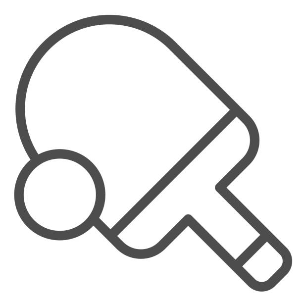 Table tennis line icon. Ping pong vector illustration isolated on white. Tennis racket and ball outline style design, designed for web and app. Eps 10. Table tennis line icon. Ping pong vector illustration isolated on white. Tennis racket and ball outline style design, designed for web and app. Eps 10 table tennis racket stock illustrations