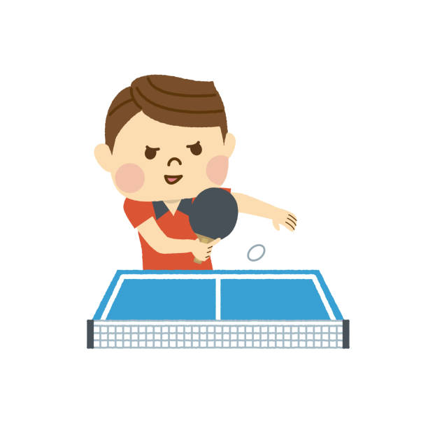 Table tennis male Table tennis male ping pong table stock illustrations