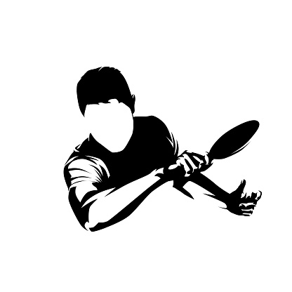 Table tennis player, forehand shot, isolated vector silhouette, ink drawing. Ping pong logo