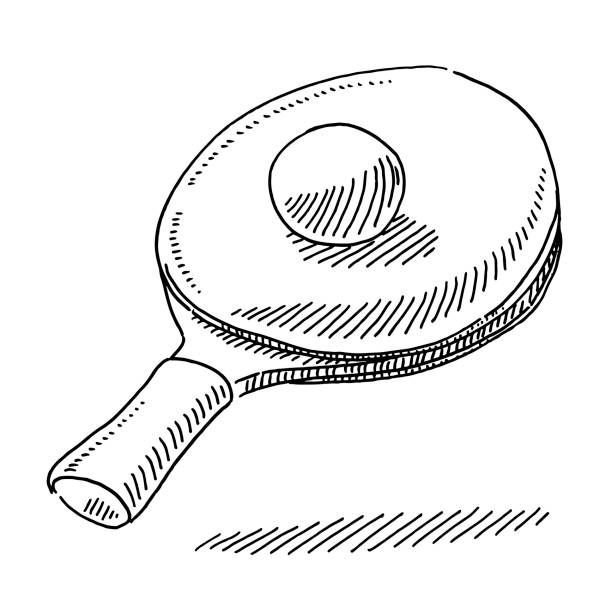 table tennis racket and ball drawing - paddle sports stock illustrations
