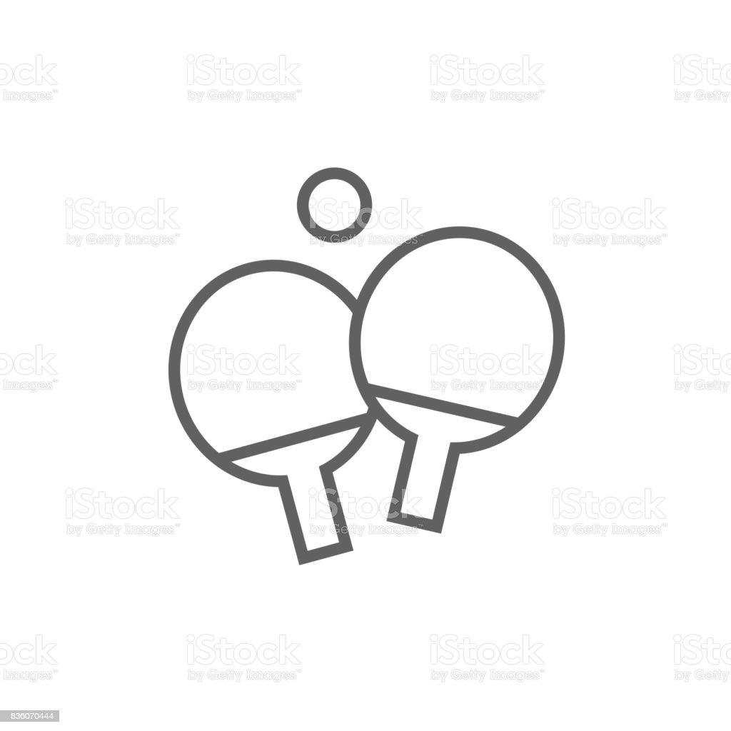 Table tennis racket and ball line icon vector art illustration