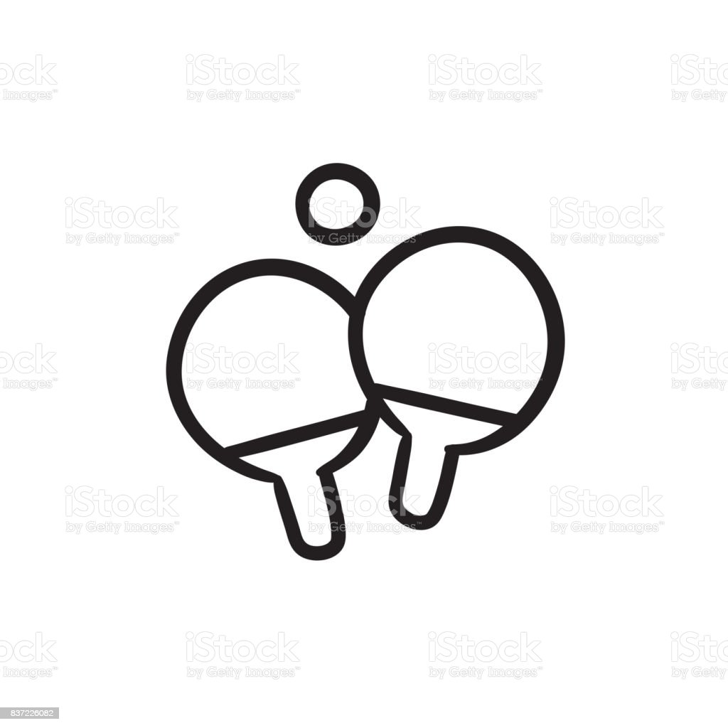 Table tennis racket and ball sketch icon vector art illustration