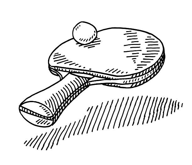 Table Tennis Racket Ball Sport Drawing Hand-drawn vector drawing of a Table Tennis Racket and a Ball, Sport Symbol. Black-and-White sketch on a transparent background (.eps-file). Included files are EPS (v10) and Hi-Res JPG. game stock illustrations