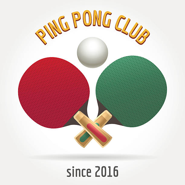 Table tennis retro logo Table tennis retro logo or ping pong sport club vintage label vector table tennis racket stock illustrations