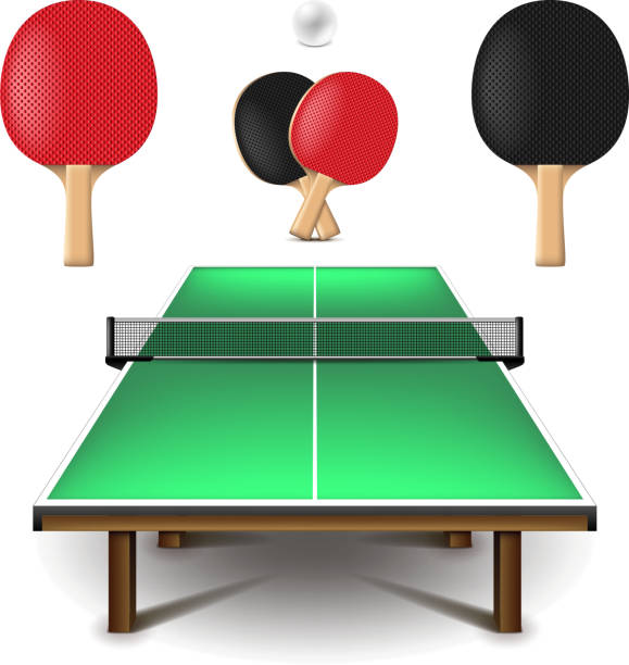 Table tennis set isolated on white vector Table tennis set isolated on white photo-realistic vector illustration ping pong table stock illustrations