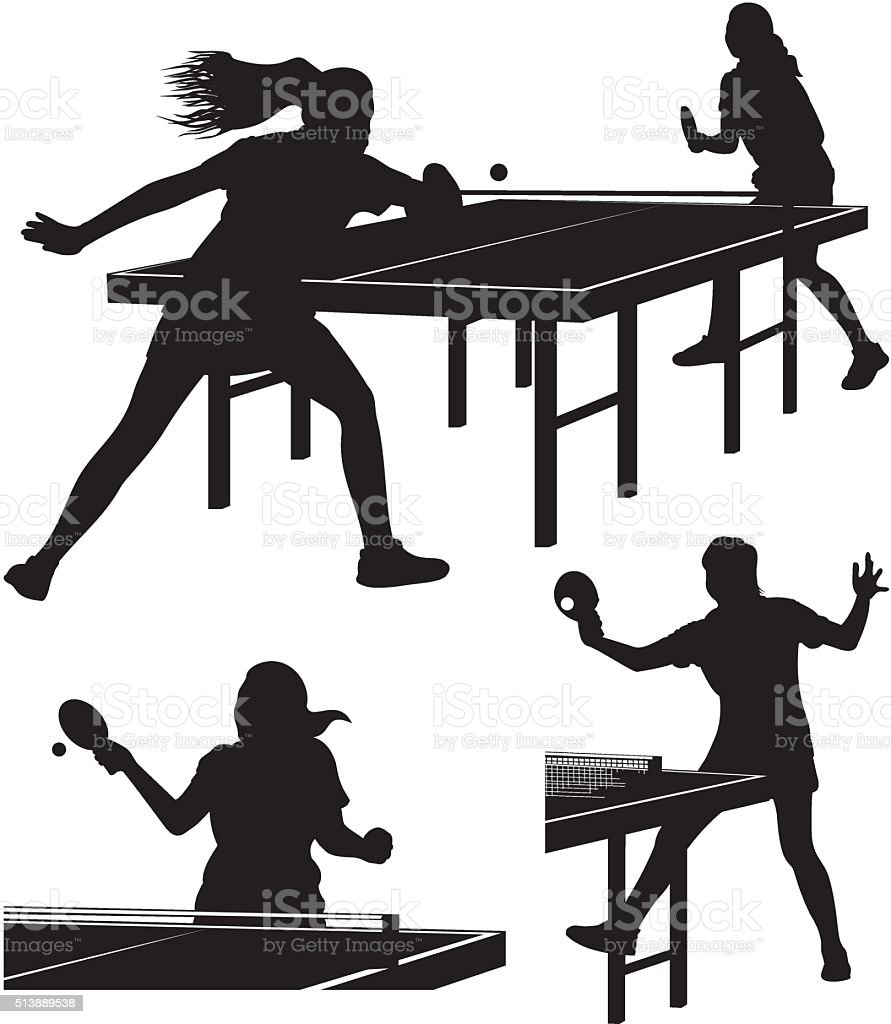 Table Tennis Silhouettes Stock Illustration Download Image Now