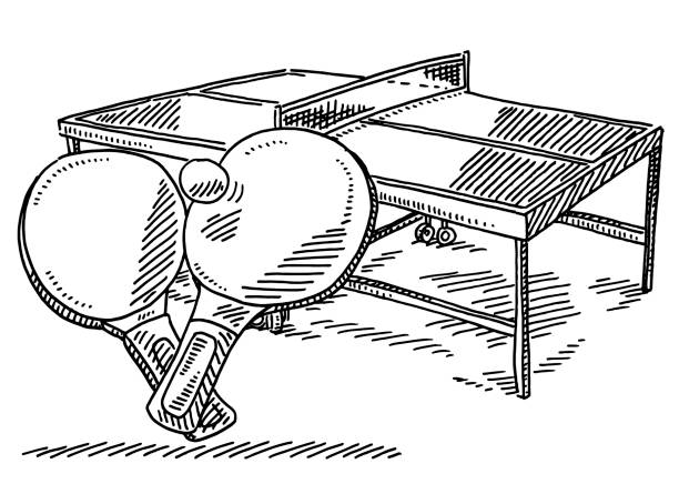 Table Tennis Sport Drawing Hand-drawn vector drawing of a Table Tennis Sport Symbol. Black-and-White sketch on a transparent background (.eps-file). Included files are EPS (v10) and Hi-Res JPG. sport stock illustrations