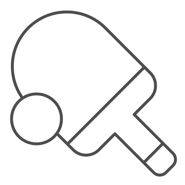 Table tennis thin line icon. Ping pong vector illustration isolated on white. Tennis racket and ball outline style design, designed for web and app. Eps 10. Table tennis thin line icon. Ping pong vector illustration isolated on white. Tennis racket and ball outline style design, designed for web and app. Eps 10 table tennis racket stock illustrations