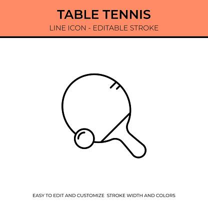 Table Tennis Thin Line Icon