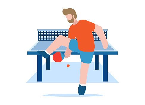 Table tennis vector concept. Healthy lifestyle. Professional sports. A man in equipment holds a table tennis racket in his hand and hits the ball along the length of the playing table. EPS 10.