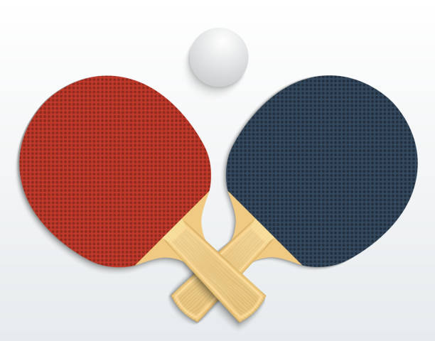 table tennis Two table tennis rackets and a ball vector illustration isolated table tennis racket stock illustrations