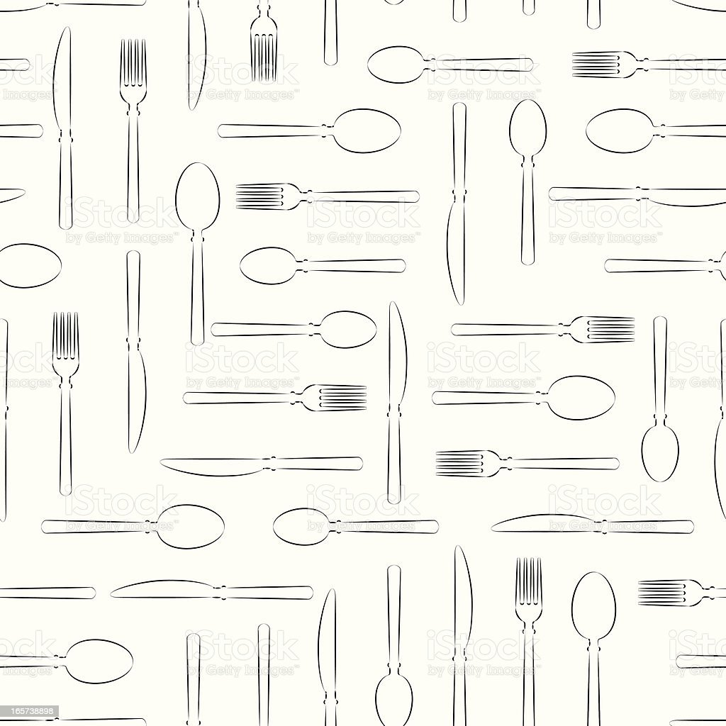 Table Utensils Linear Repeat royalty-free stock vector art