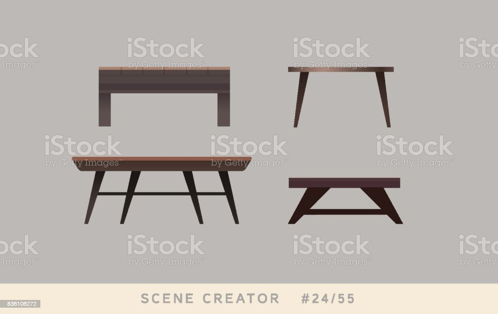 Table variations. Isolated vector objects set. vector art illustration