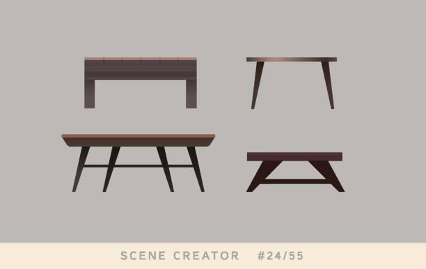 stockillustraties, clipart, cartoons en iconen met tabel variaties. geïsoleerde vector objecten instellen. - breakfast table