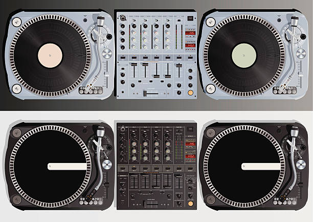 DJ Table Vector Art Illustration
