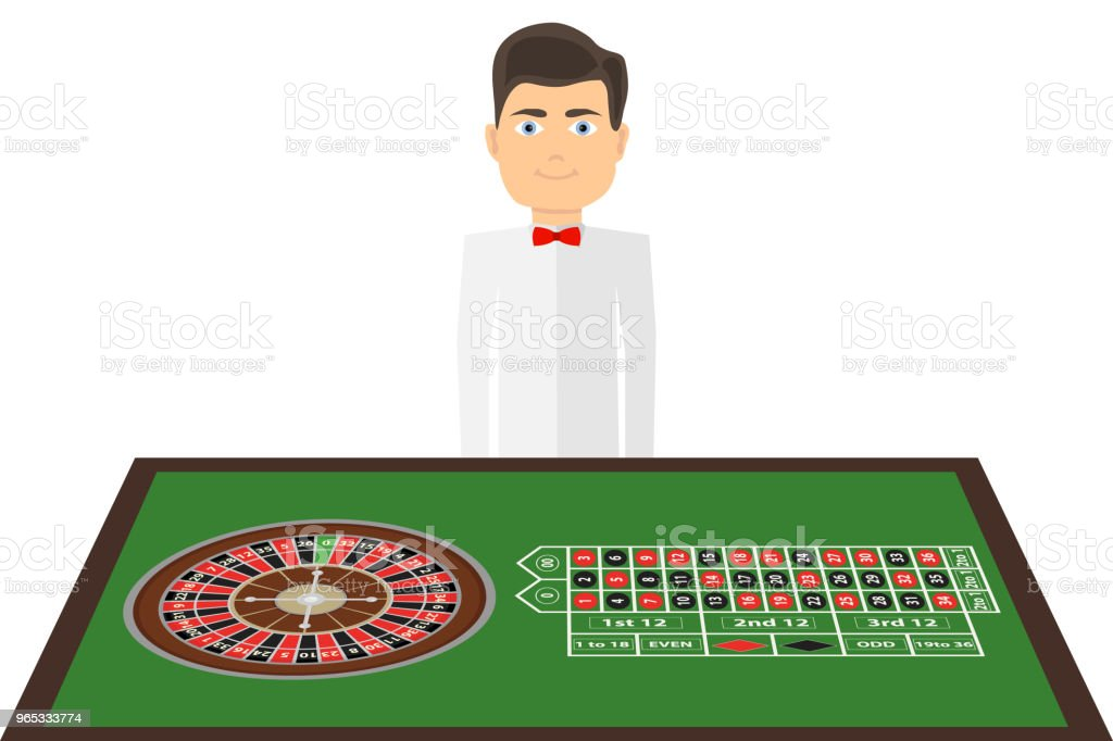 A table with a casino roulette game. The croupier stands near the table with a tape measure. a table with a casino roulette game the croupier stands near the table with a tape measure - stockowe grafiki wektorowe i więcej obrazów chip komputerowy royalty-free