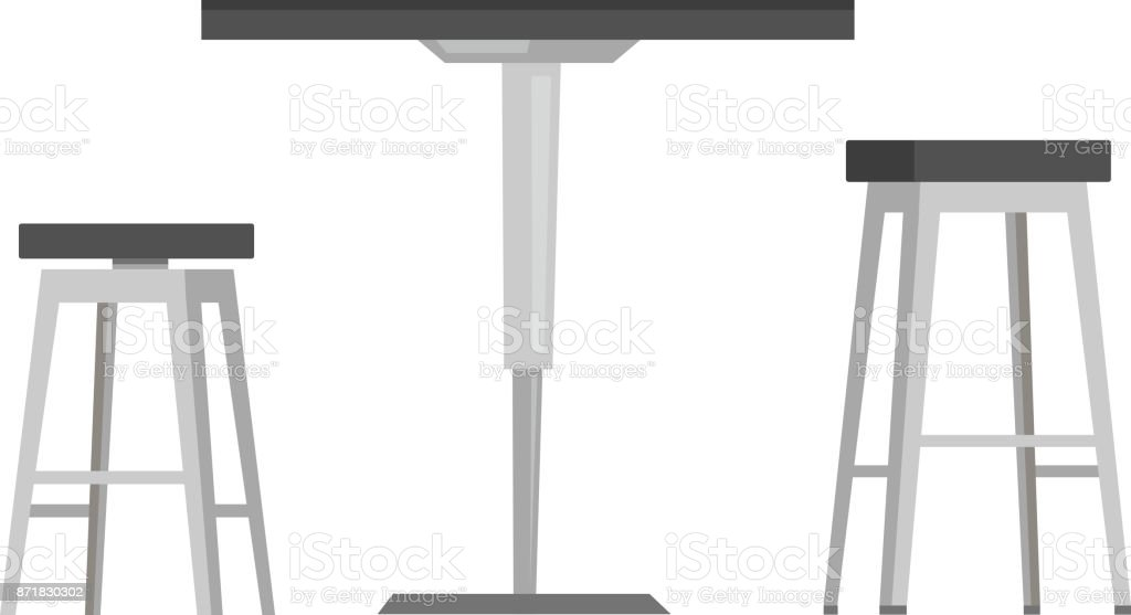 Table with bar chairs vector cartoon illustration vector art illustration
