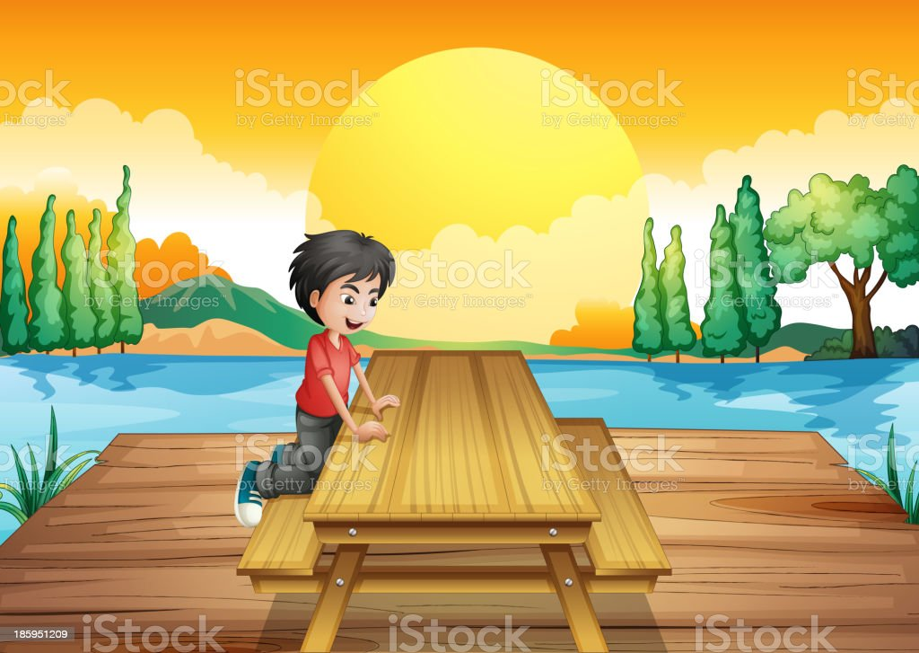 table with bench near the river royalty-free stock vector art