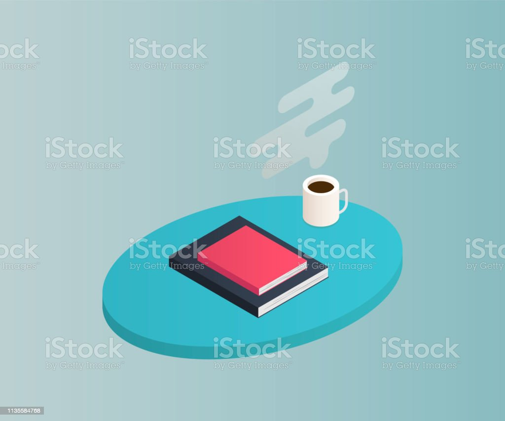 Isometric table with books isolated on background. 3d shelves filled...