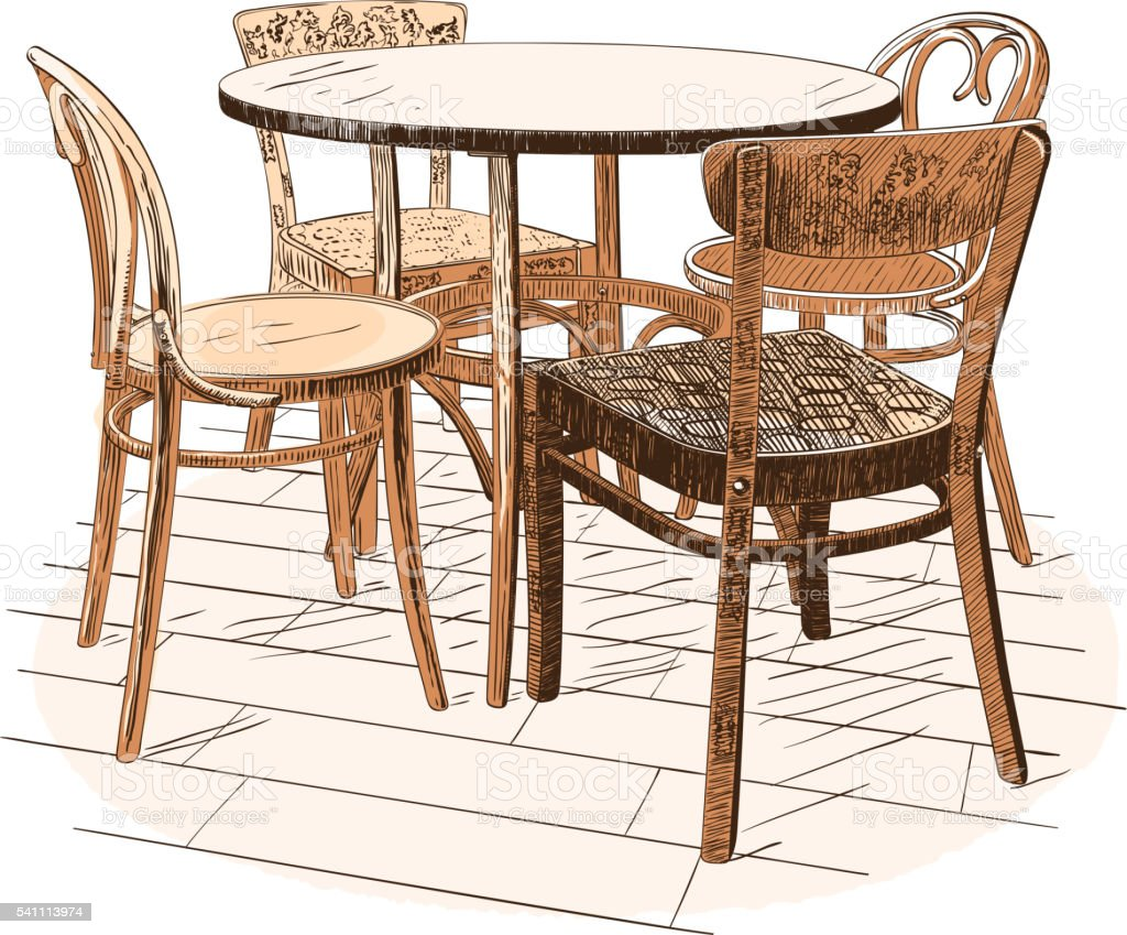 Table With Four Chairs Isolated On White Royalty Free