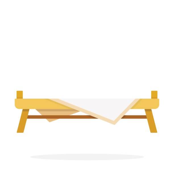 tisch mit tischdecke vektor flach material design isoliertes objekt auf weißem hintergrund. - winkelküche stock-grafiken, -clipart, -cartoons und -symbole