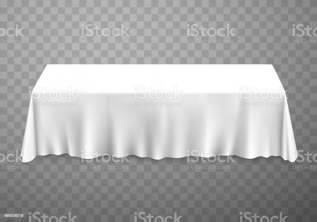 Table with tablecloth white. vector art illustration