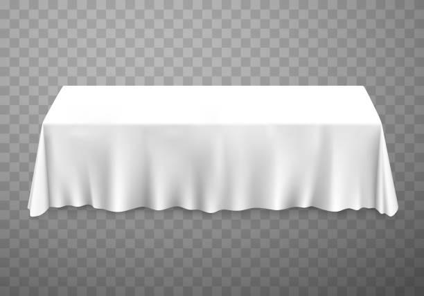 ilustrações de stock, clip art, desenhos animados e ícones de table with tablecloth white. - muita comida