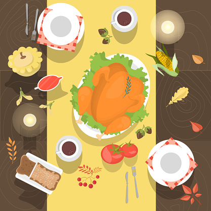 Table with the chicken or turkey and bread top view.