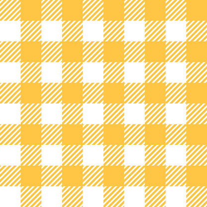 Tablecloth In Yellow With Checkered Design Stock Illustration - Download Image Now