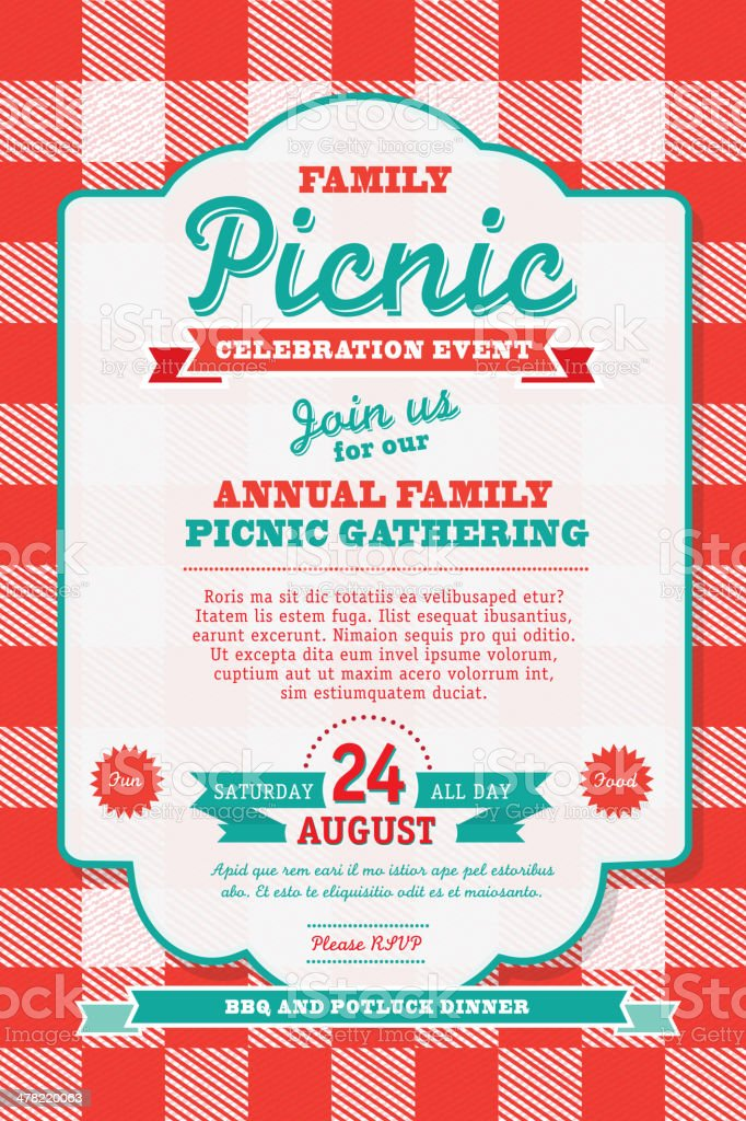 BBQ tablecloth picnic invitation design template vector art illustration