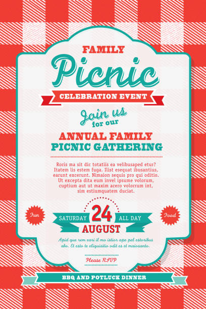ilustraciones, imágenes clip art, dibujos animados e iconos de stock de barbacoa mantel picnic diseño de plantilla de la invitación - fiesta en el jardín