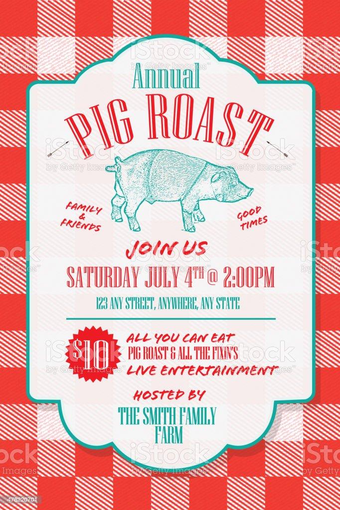 royalty free pig roast clip art vector images illustrations istock rh istockphoto com Pig Roast Party BBQ Pig Clip Art