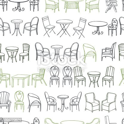 Hand drawn garden furniture.  Tables and chairs. Vector seamless pattern.