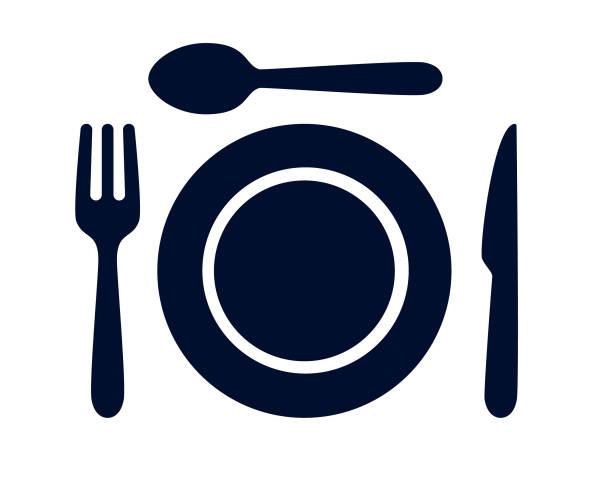 stockillustraties, clipart, cartoons en iconen met eetlepel, tafel mes, vork en plaat diner set vector illustratie - gedekte tafel
