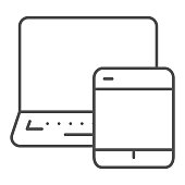 Tablet and laptop thin line icon, smart home symbol, modern technology vector sign on white background, multimedia digital devices icon outline style for mobile and web design. Vector graphics