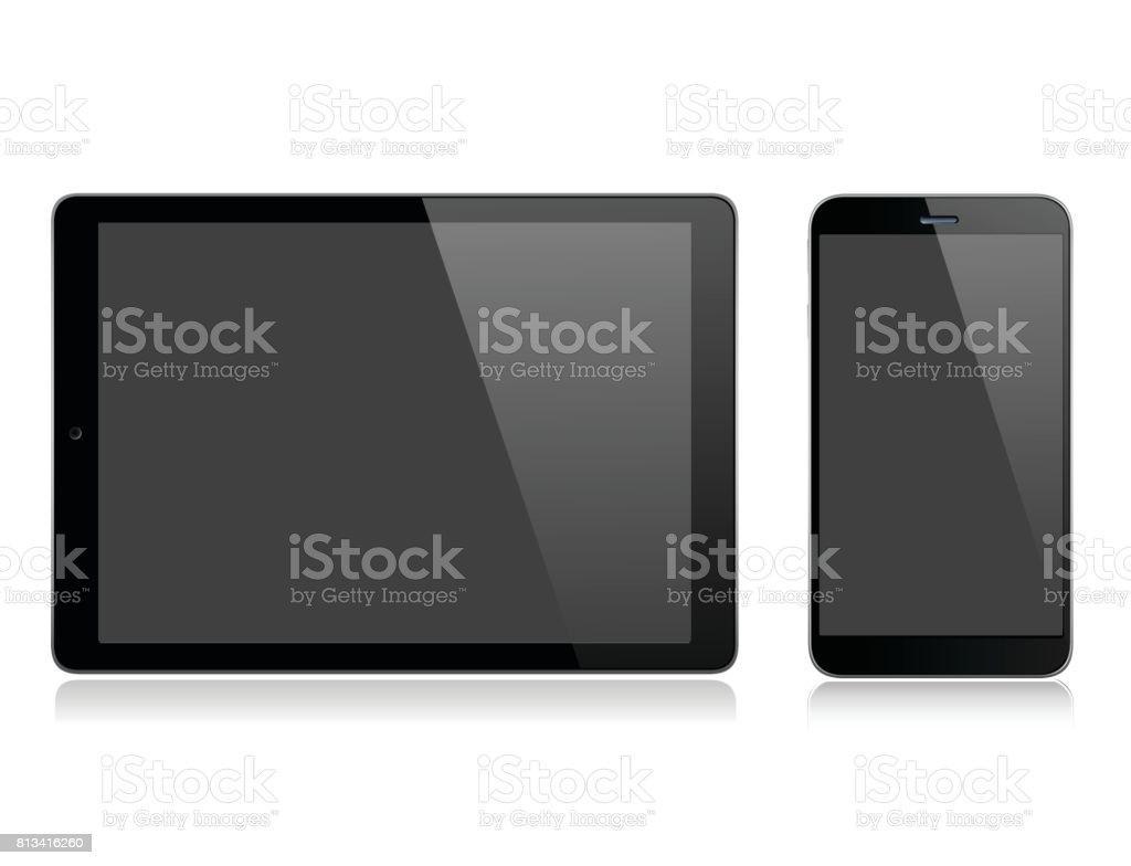 Tablet und Handy – Vektorgrafik