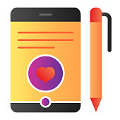 Tablet and pen flat icon. Smartphone with pen color icons in trendy flat style. Digital tablet with stylus gradient style design, designed for web and app. Eps 10