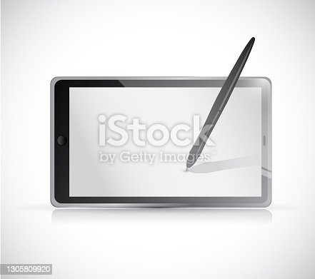 istock Tablet and pen illustration design 1305809920