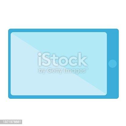 istock Tablet blue flat design long shadow glyph icon. 1321978881