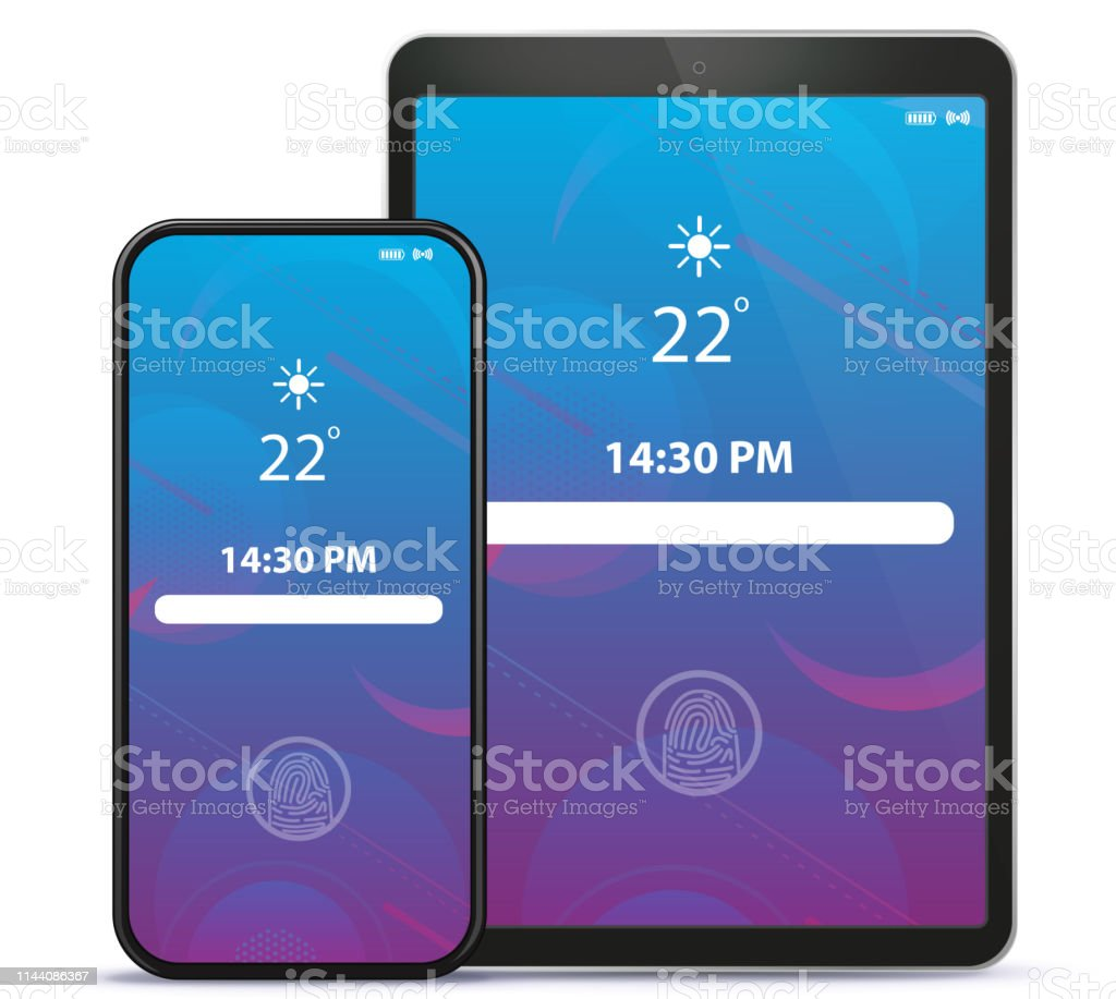 Tablet Computer And Mobile Phone Lock Screen With Geometric