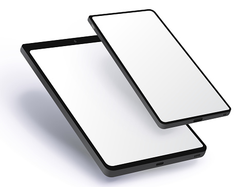 Tablet Computer and Mobile Phone Vector Illustration.