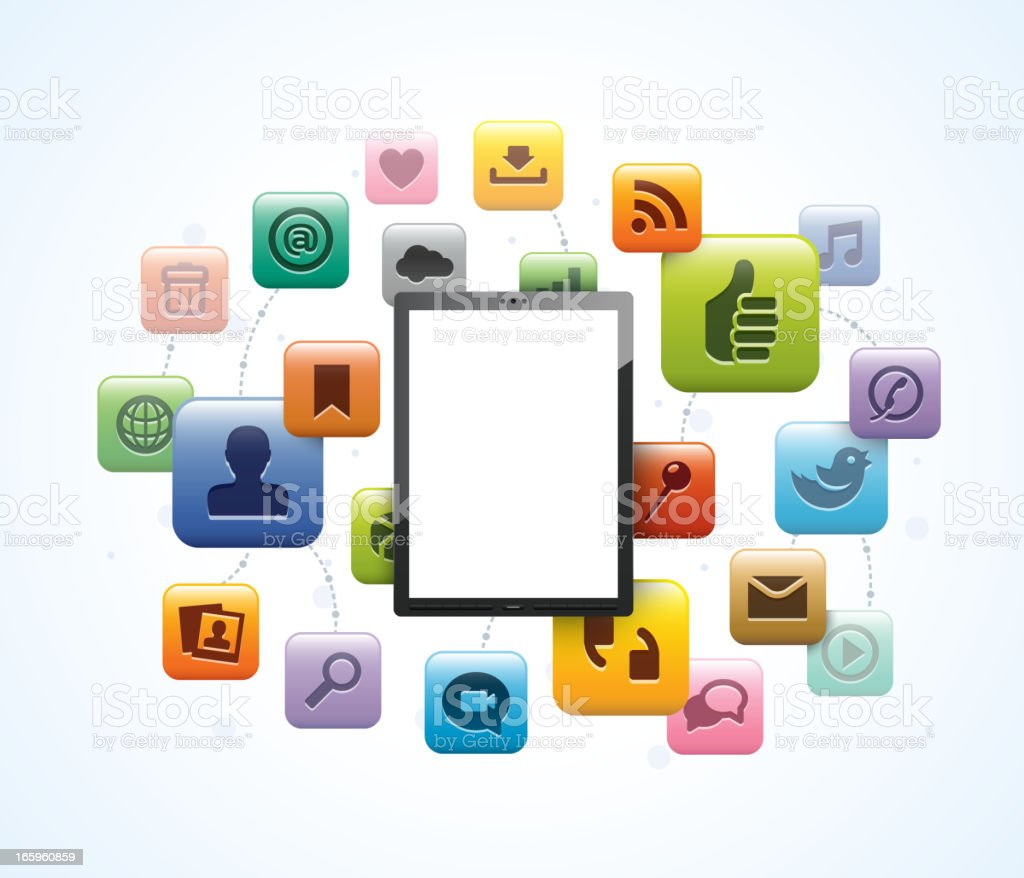 Tablet computer icons vector illustration royalty-free stock vector art