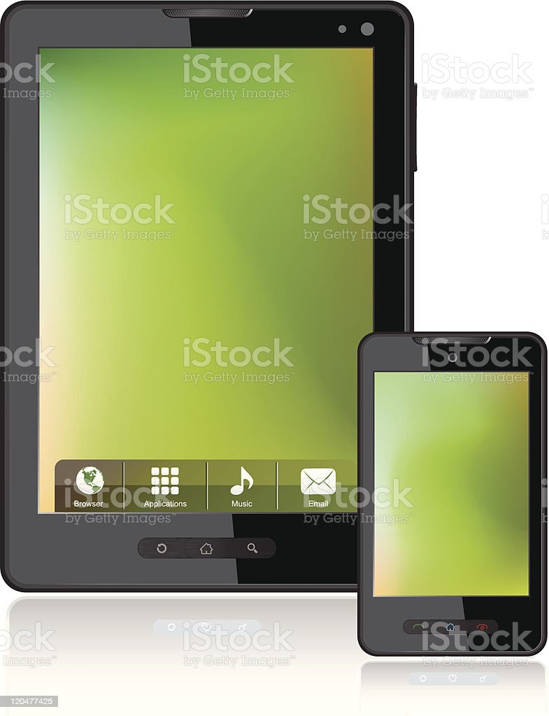Tablet Computer & Mobile Phone vector art illustration