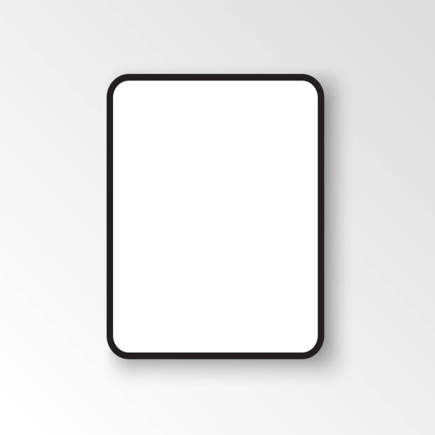 ipad pro with 12.9-inch display, 2018. template black frame with shadow. vector illustration - ipad stock illustrations